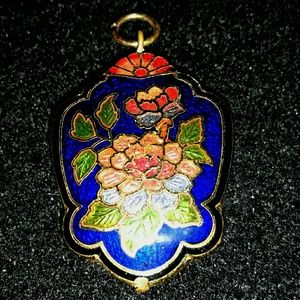 Vtg estate chinese cloisonne double sided pendant